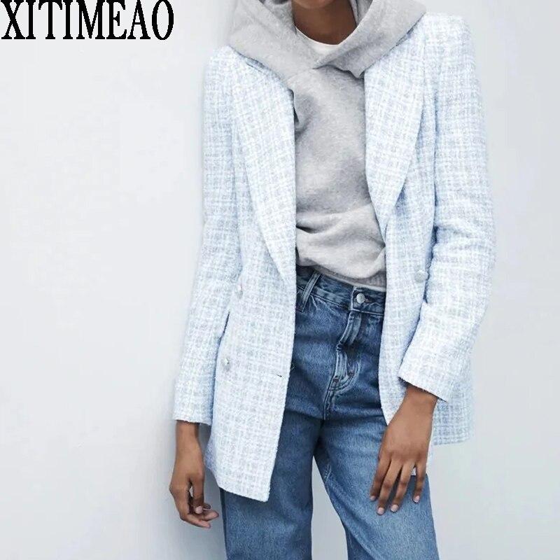 Za 2021 Women Suit Jacket Tweed Blazer Women Jacket Female Double Breasted Tweed Check Blazers Coat Plaid Checkered Blazer