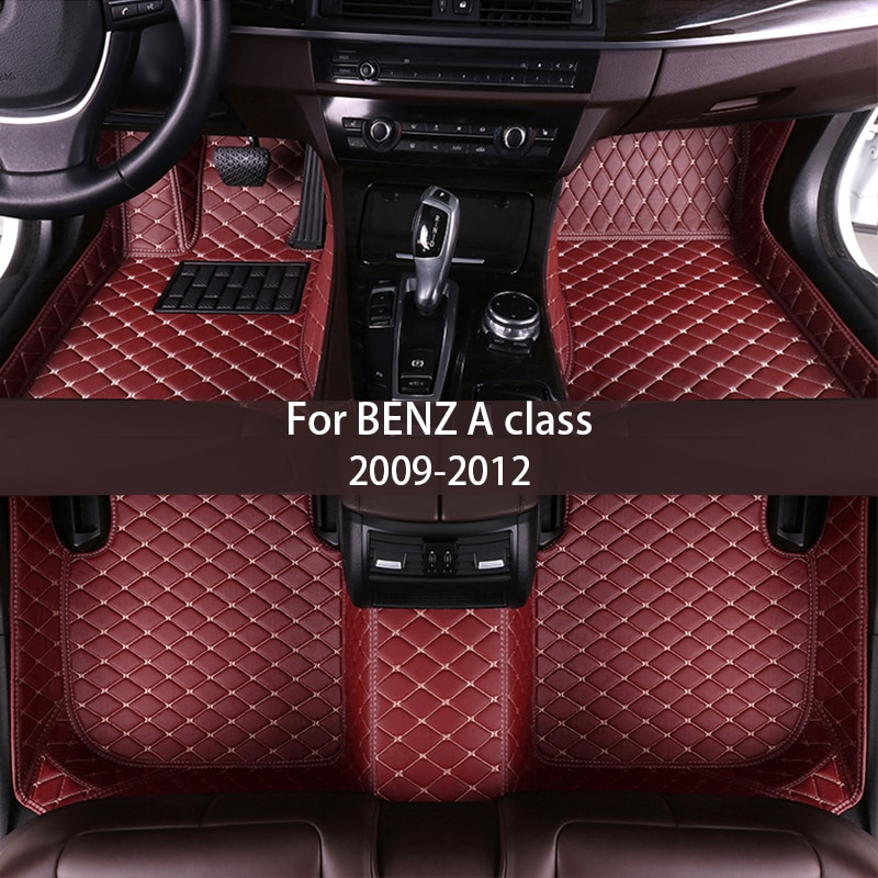 leather Car floor mats for BENZ A class 2009 2010 2011 2012 Custom auto foot Pads automobile carpet cover