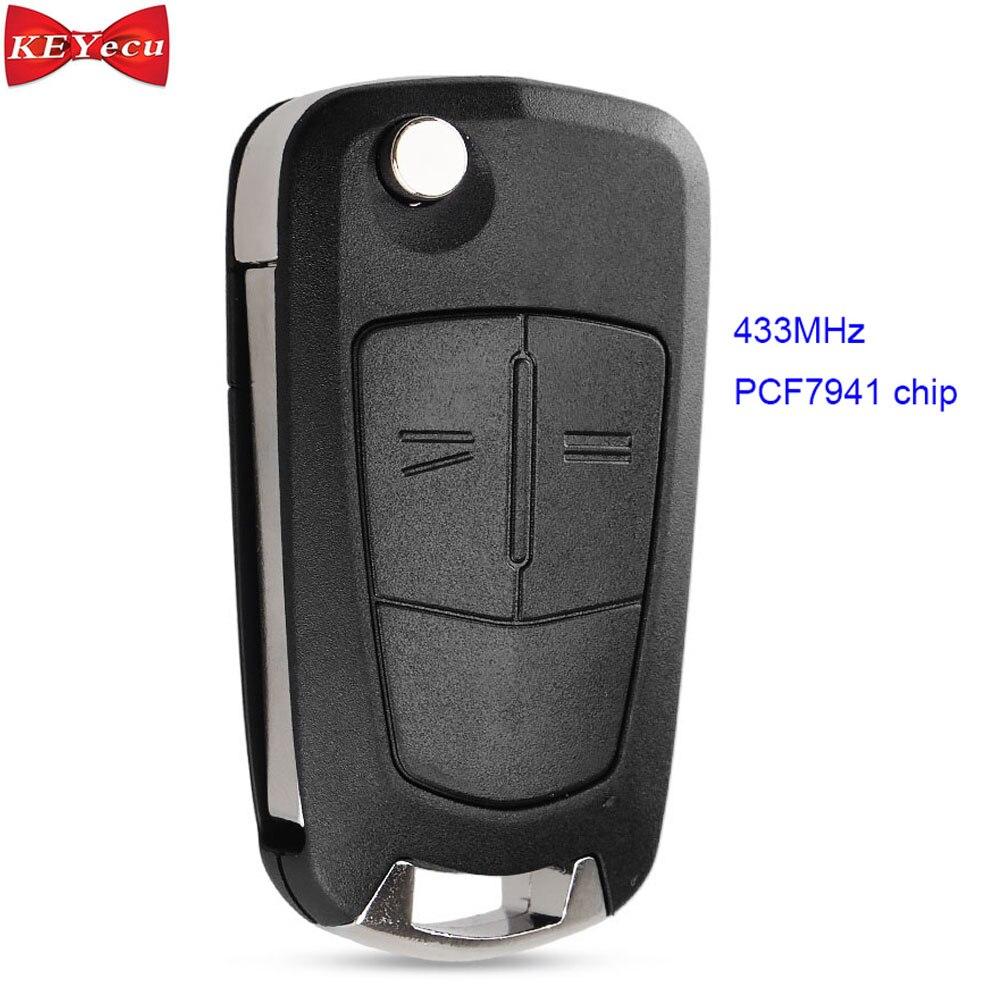 Keyecu para opel astra h 2005-2009 zafira b 2006-2013 remoto carro chave fob 433 mhz pcf7941 chip hu100 lâmina 2 botão