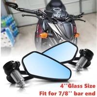 4glass aluminum motorcycle handlebar rear view mirrors anti glare mirror fit 78 bar end for honda yamaha suzuki scooter