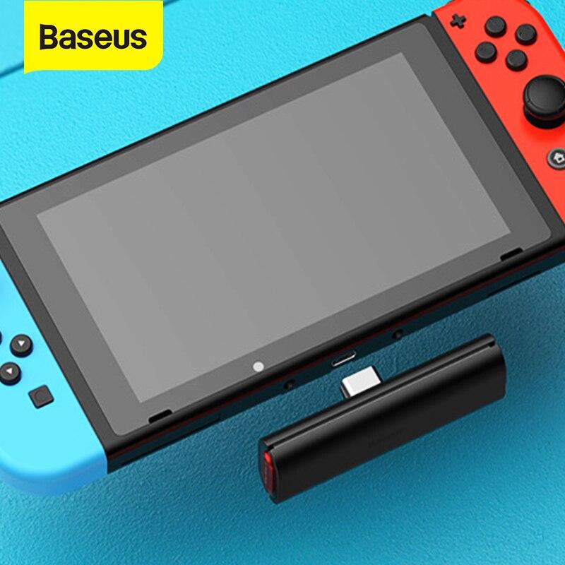 Baseus سماعة لاسلكية تعمل بالبلوتوث الارسال V5.0 استقبال لنينتندو سويتش 18 واط شحن سريع الكمون المنخفض نوع C USB محول لاسلكي