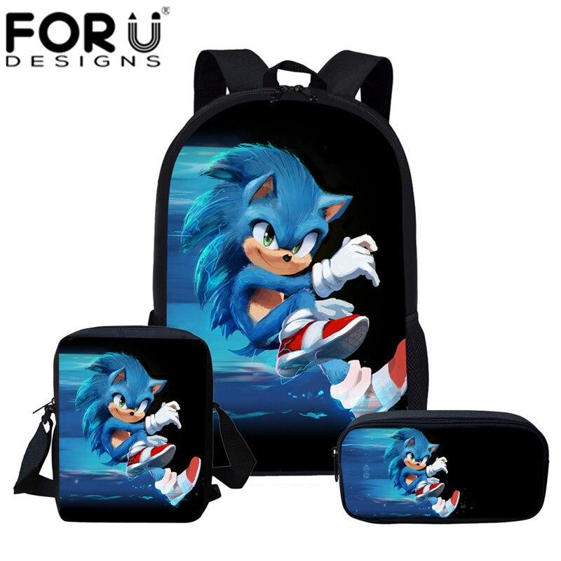 FORUDESIGNS Sonic The Hedgehog mochilas escolares adolescentes dibujos animados erizo azul impreso mochila niños estudiante ligera 3 unids/set
