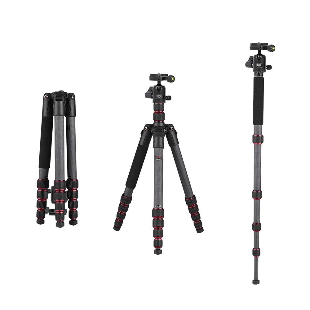 Obo ts360c dobrável portátil câmera de fibra carbono tripé viagem monopé para canon nikon sony dslr ildc câmeras