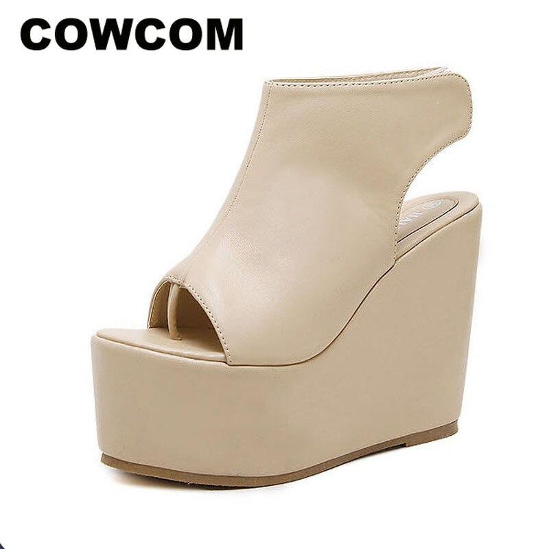 COWCOM 2019 sandalias de pie de pez Platfrom tacones altos sandalias mercancías 2020 zapato romano pastel Base gruesa zapatos de mujer JXQ