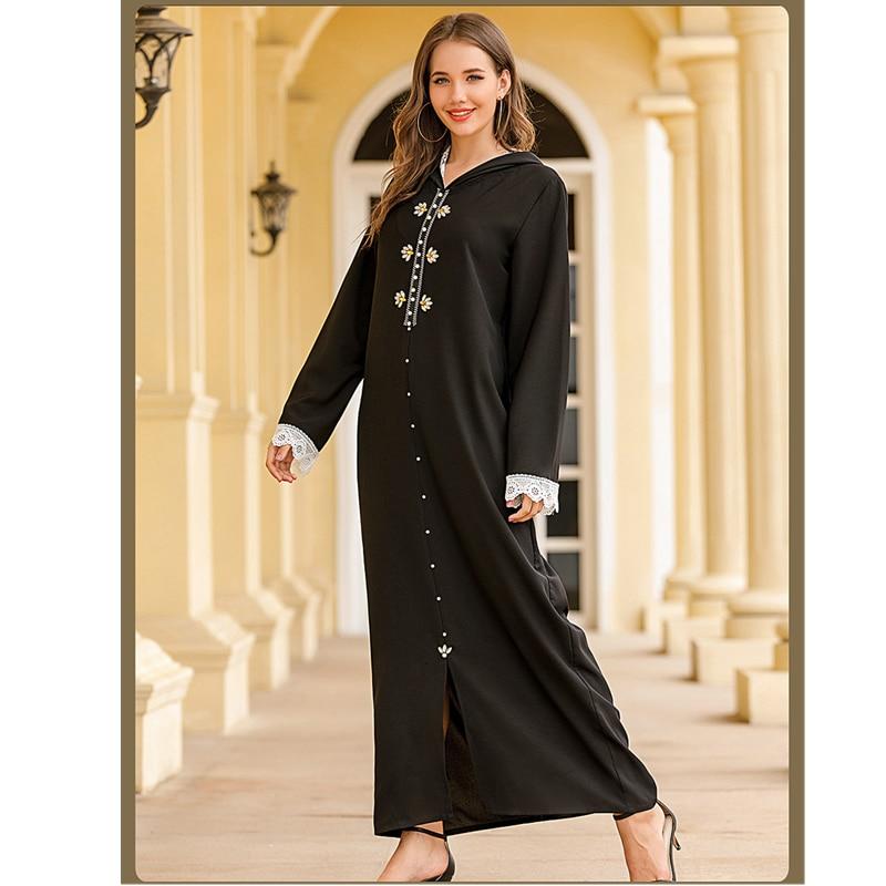 Muslim Fashion Abaya Hoodie Women Dress Dubai Turkey Hijab Dress Luxury Black Diamond Arabic Islamic Clothing