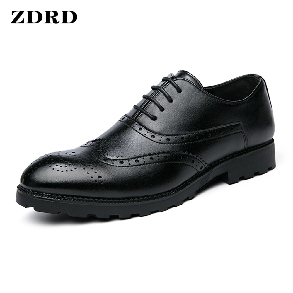 Spring Genuine Leather Oxford Dress Shoes Men Lace Up Cap Office Wedding Shoes Black Brogue Pointed