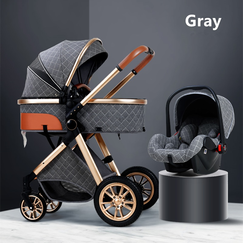 2021 Luxury Baby Stroller 3 in 1 Infant Stroller Set Portable Reversible High Landscape Baby Carriage Trolley Travel Pram 6Gifts