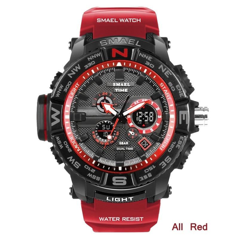 Reloj Masculino marca SMAEL reloj deportivo hombre cuarzo Digital Wristwatc hombres Shock militar 5bar impermeable Relojes Para Hombre