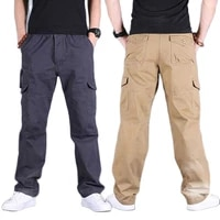 men pants casual multi pocket cargo pants cotton loose baggy straight plus size joggers trousers male camouflage clothes spring