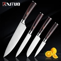 xituo kitchen knife 8 inch japanese chef knives 7cr17 stainless steel laser damascus pattern meat slicing santoku cleaver knife
