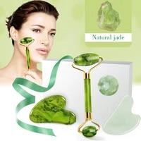 2pcs massager for face jade roller set green facial natural gouache scraper body back beauty skin care slimming massagers