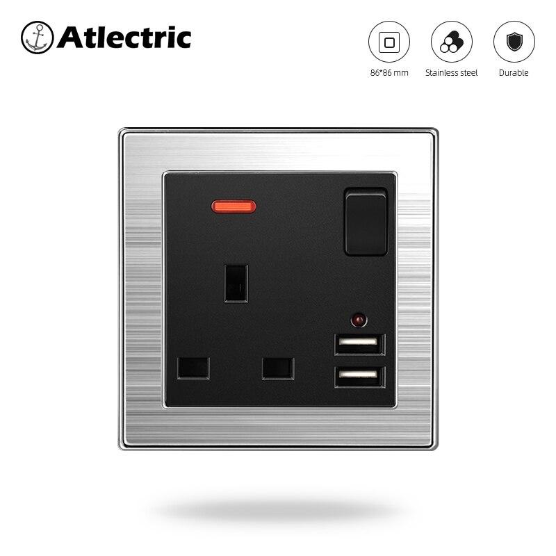 Toma de enchufe estándar Reino Unido Atlectric 13A puerto de carga Dual USB toma de corriente de pared con interruptor Panel DE ACERO INOXIDABLE enchufes para pared tomacorriente usb