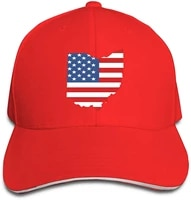 map of the state of ohio and american flag unisex hats trucker hats dad baseball hats driver cap