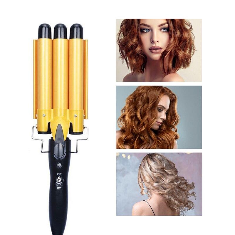 Rizador de pelo de 3 barriles, rizador de pelo para cabello largo y corto, dos marchas temperatura ajustable, calor rápido