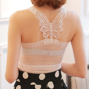 2019 New Ladies Summer Sexy Vest Butterfly-knotted Lace Back Chest-covering Hollow Out Sexy Tops