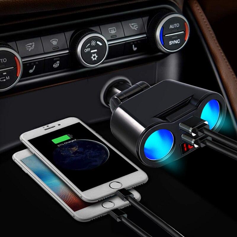 12v isqueiro do carro tomada usb um para três carregador de carro display led girando 3.1a carregador de telefone automático usb acessórios do carro