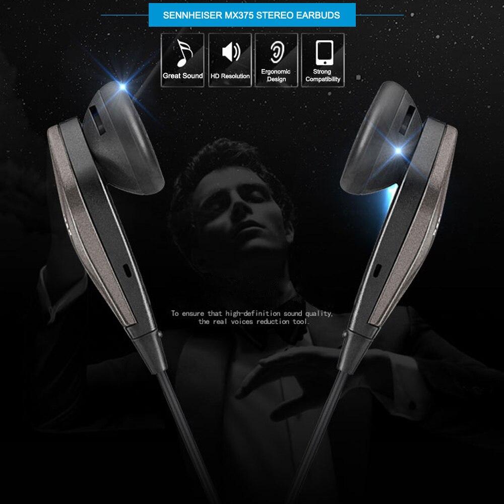 Оригинальные стереонаушники Sennheiser MX375 с глубокими басами, наушники 3,5 мм, гарнитура, Спортивная гарнитура с HD разрешением, музыка для iPhone, Android