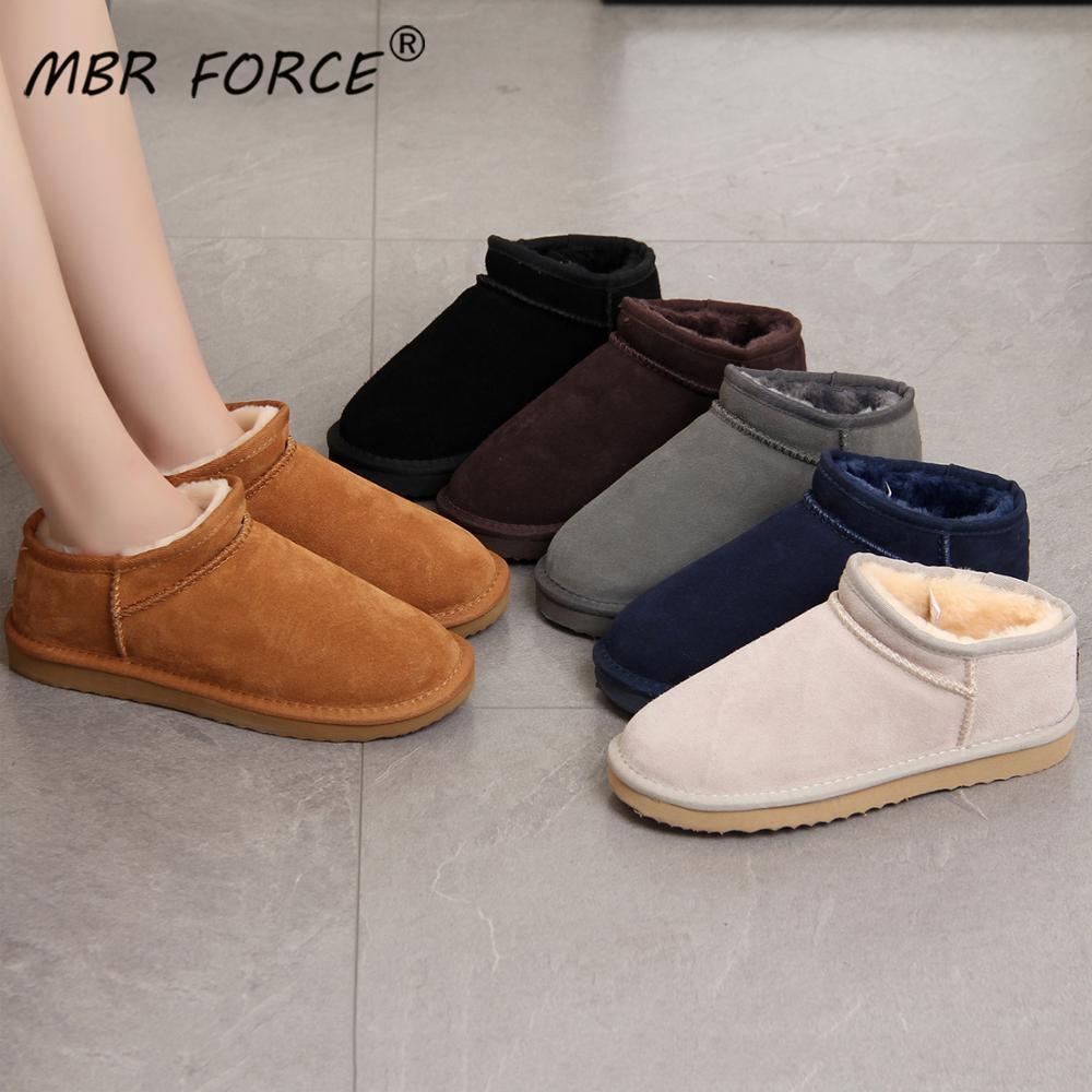 MBR FORCE Australia-أحذية نسائية من جلد البقر الأصلي ، أحذية طويلة دافئة للشتاء ، أحذية نسائية كبيرة الحجم