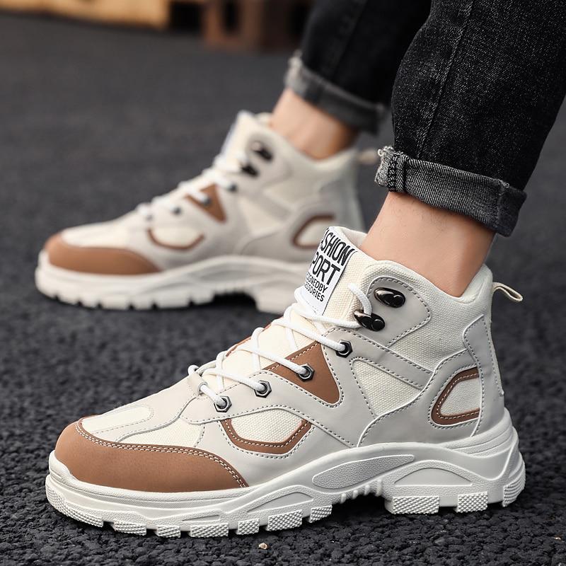 Botas militares de moda para hombres botas de nieve cálidas al aire libre zapatos antideslizantes de deportes de invierno zapatos de seguridad grueso inferior aumento beige