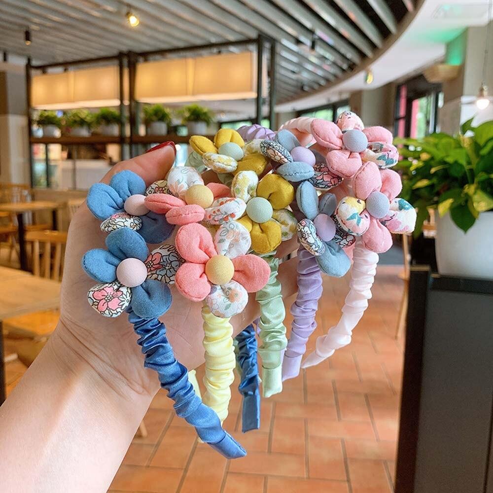 Cute Cloth Fabric Stitching Flower Hair Hoop Lovely Girls Headband Hairband Fashion Headdress Accessories