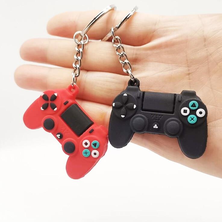 Masculino simples jogo de vídeo lidar com chaveiro casal joystick máquina chaveiro chaveiro para o namorado porta-chaves trinket presente