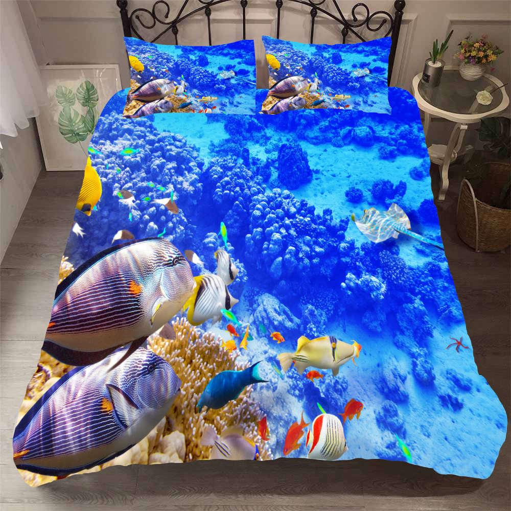 Fanaijia 3d mundo submarino juegos de cama doble tamaño azul funda nórdica y funda de almohada conjunto de edredón de dibujos animados