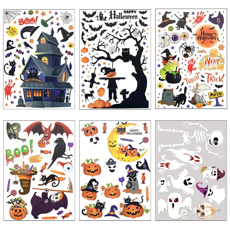 Хэллоуин, украшенные забавной аппликацией ПВХ стикер тыквенный призрак зеркальное стекло окно наклейка детская комната стены наклейки Дек...
