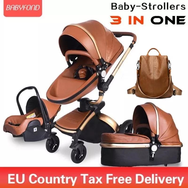 Brand Newborn Pram Babyfond 3 in 1 Luxury Baby Stroller PU Leather Two-Way Push 360 Rotate  Baby Car EU Safety Car Seat Trolley