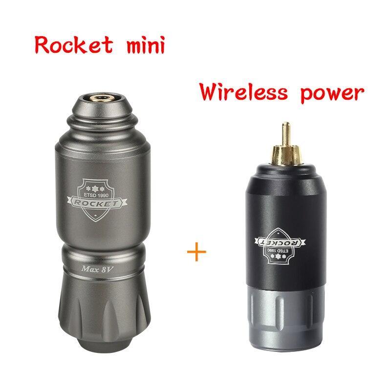 Kit de máquina de pluma de tatuaje cohete con Mini fuente de alimentación inalámbrica conjunto de máquina rotativa