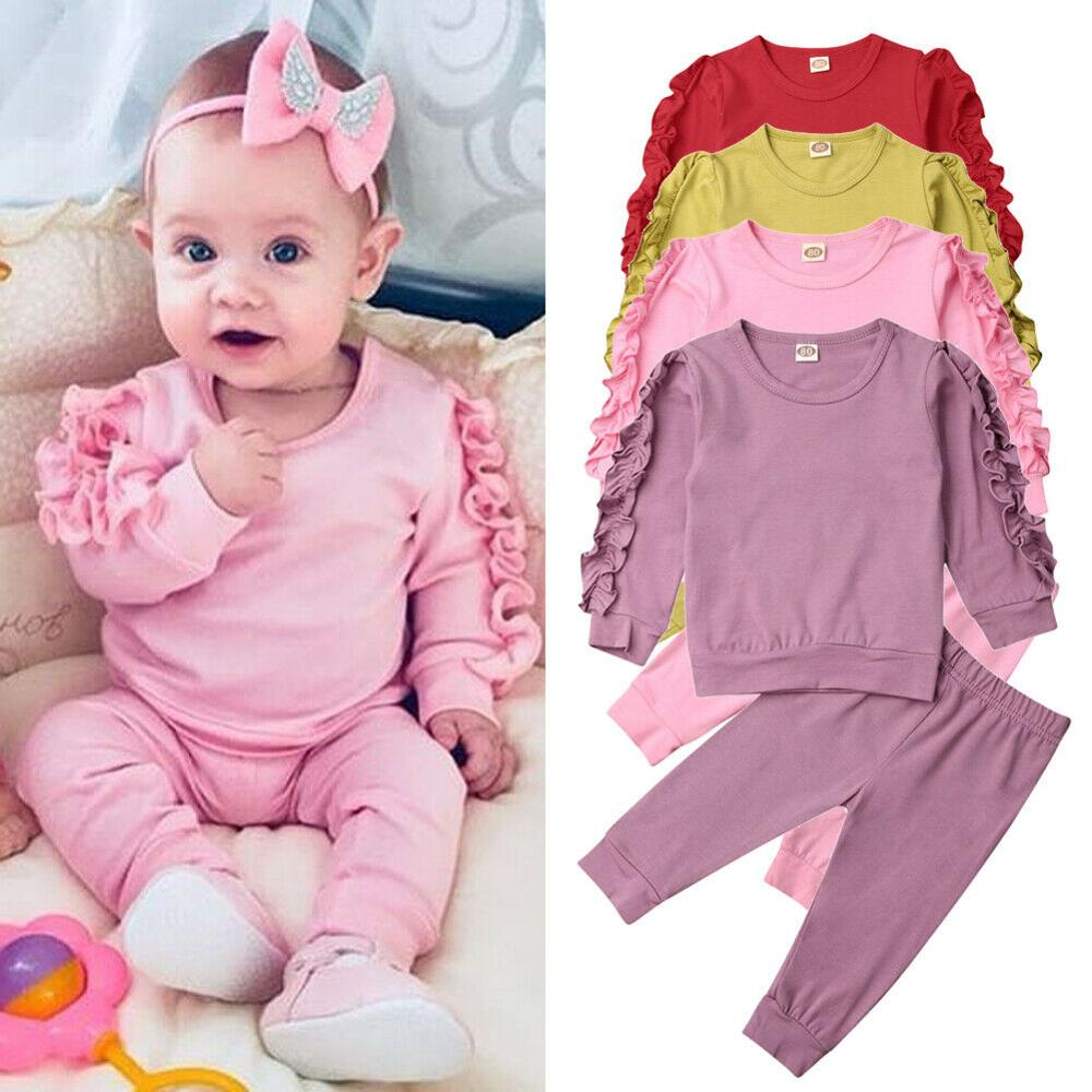 Newborn Autumn Winter Clothing Baby Girls Sleep Clothes Set Ruffle Long Sleeve Sweatshirt T Shirt Pants 2Pcs Outfits Sleepers