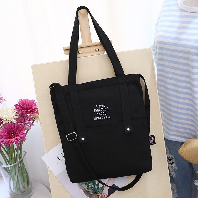 Female Canvas Shopping Bag Cartoon Shoulder Grocery Bag Student Out Large Capacity Folding Reusable Shopper Bags bolsa
