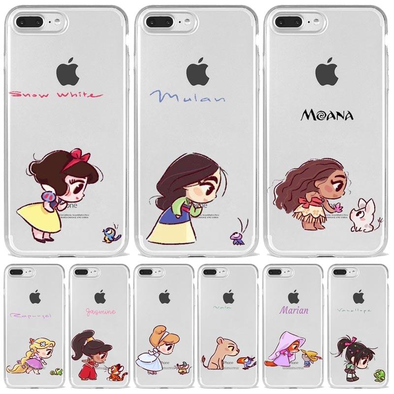 Mini Princesses Cute Mermaid Belle Snowwhite Silicone Coque Soft Phone Case Cover For Iphone 11 Pro Max X Xs Xr 6 7 8 Plus Cases