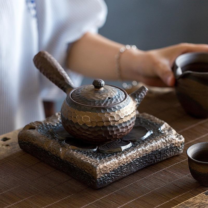 إبريق شاي مصنوع يدويًا من الخزف الحجري ، إناء شاي يحمل إبريق شاي بمقبض جانبي واحد ، غلاية شاي ، إبريق شاي صيني من السيراميك