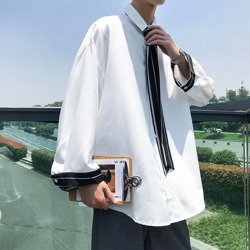 Camisa de vestir para hombre, camisa Social a la moda para hombre, camisa gris negra blanca con lazo, Camiseta holgada de manga larga para hombre M-3XL
