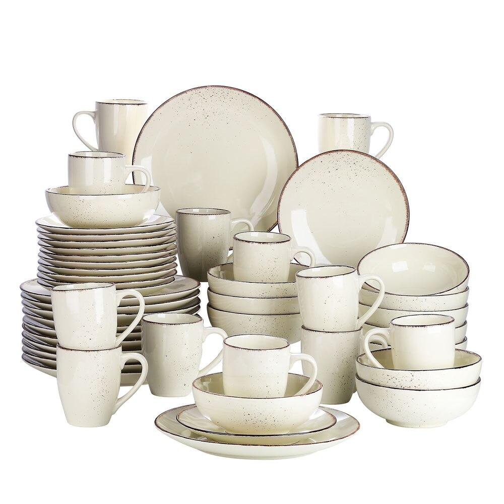 Vancasso Navia-C 16/32/48-Piece Stoneware Ceramic Dinnerware Set with Dinner Plate,Dessert Plate,800ml Bowl,380ml Mug Set