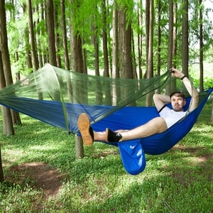 Parachute Cloth Automatic Quick-opening Tent-type Outdoor Camping Mosquito Net Hammock, Lightweight Nylon Parachute Hammock 2021