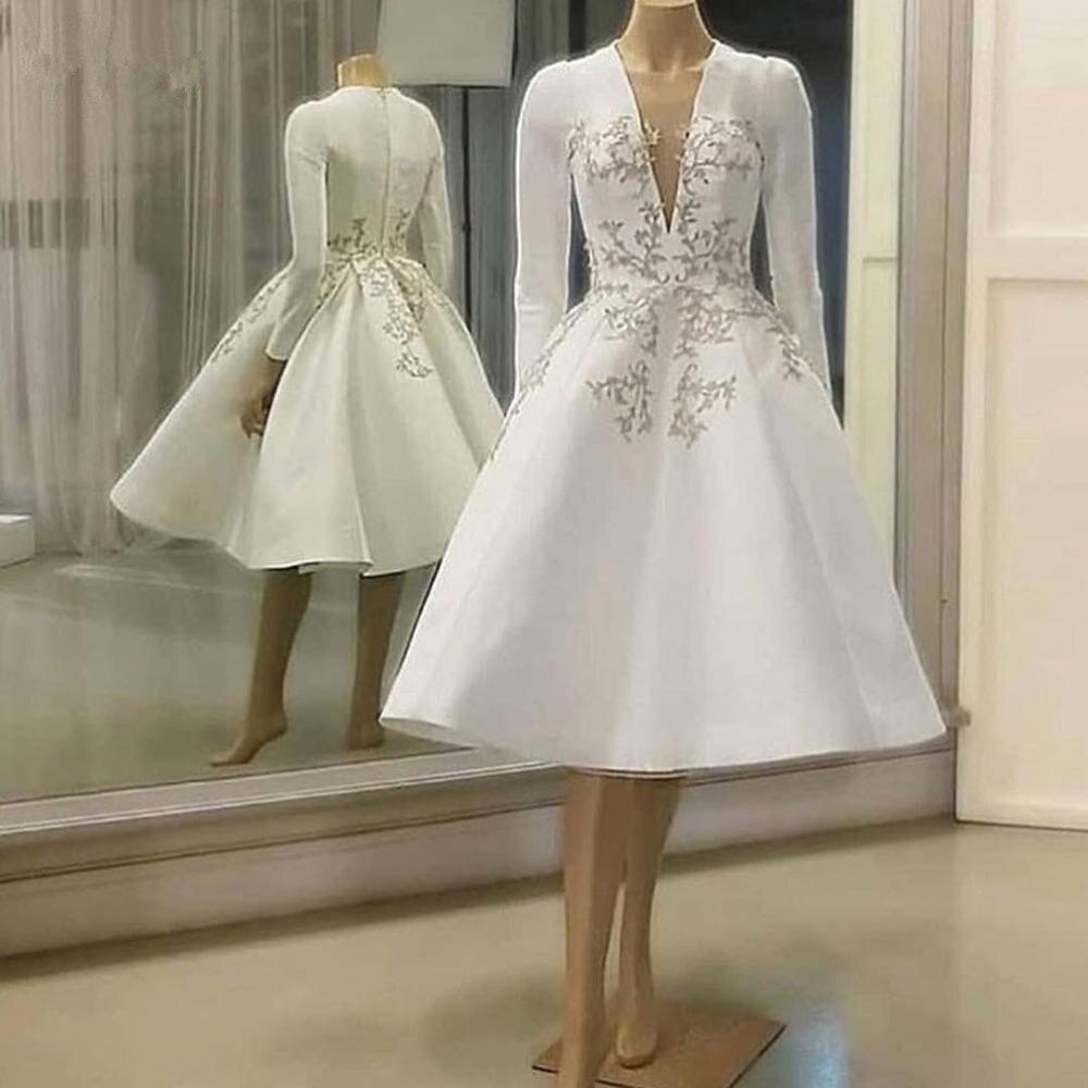 Винтажное атласное кружевное вечернее платье с длинными рукавами до колена, платье для встречи выпускников, сексуальное платье с V-образным... gold case платье до колена