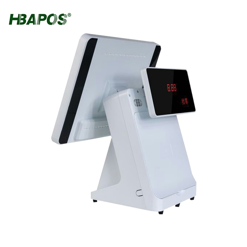 Cash register with 58mm 80mm printer 15inch single dual display pos system pos terminal touch screen for pos and kitchen print enlarge