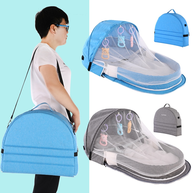 Baby Bed Portable Baby Nest Bed Travel Sun Protection Mosquito Net With Bassinet Foldable Breathable Infant Sleeping Basket
