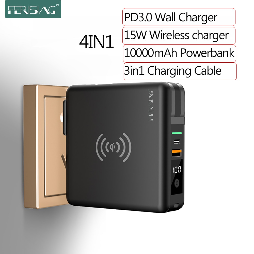 Ferising 10000mah 15w banco de potência sem fio + pd rápido tipo de carga rápida c usb c qc3.0 powerbank para iphone samsung xiaomi carregador