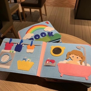 Montessori Baby Busy Board 3D Toddlers Story Cloth Book Early Learning Education Habits Knowledge Developing Toys