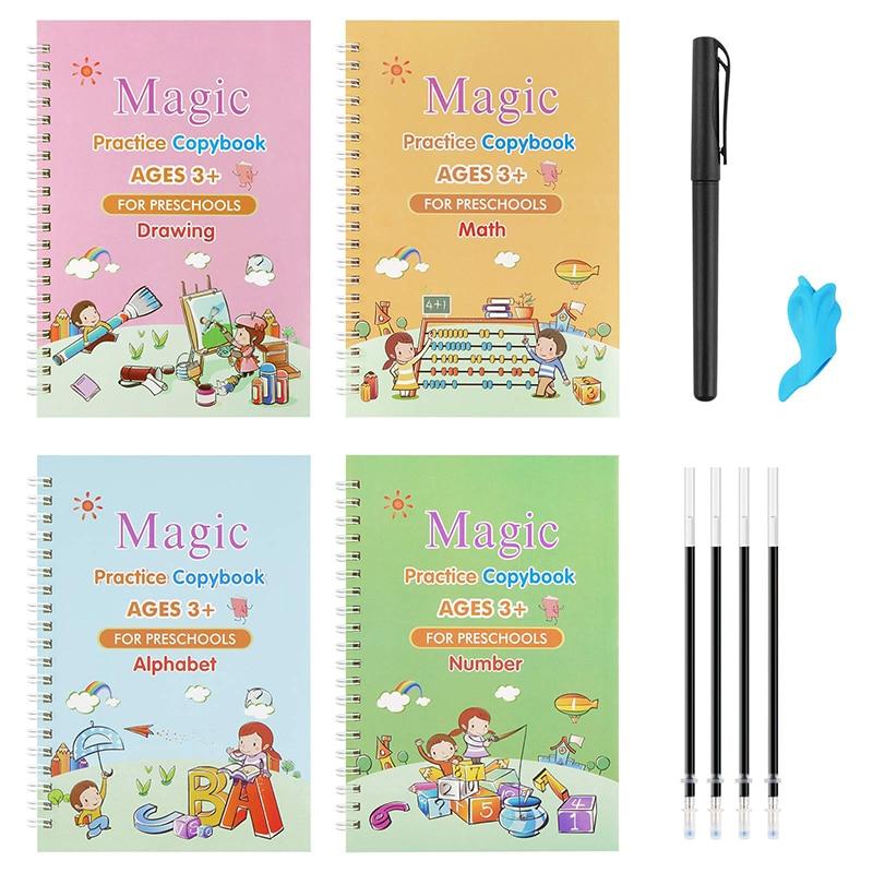 Тетрадь детская многоразовая для Обучения письму, изучению английского Волшебная Канцелярия каллиграфии, игрушки Монтессори, 4 книги/набор...