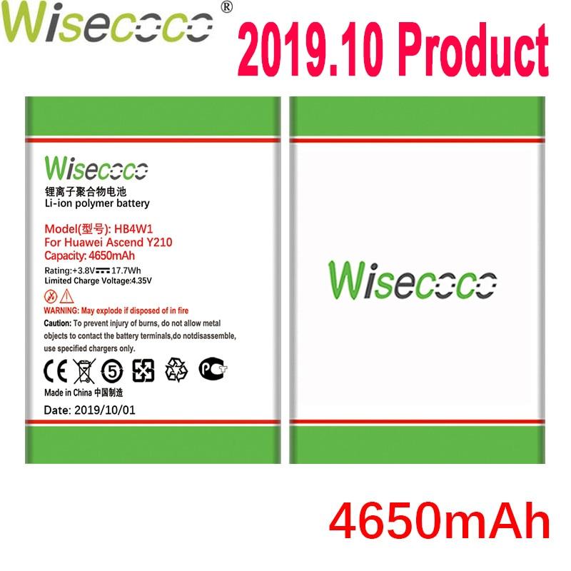 Wisecoco 4650mAh HB4W1 HB4W1H batería para Huawei Ascend Y210 G510 G520 G525 C8813 C8813Q C8813D T8951 U8951 W2 teléfono móvil