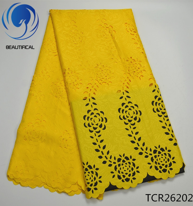 Hermosa tela de encaje de gasa suizo africano amarillo 5 yardas 2019, envío gratis, último corte láser, ojal de encaje de algodón TCR262