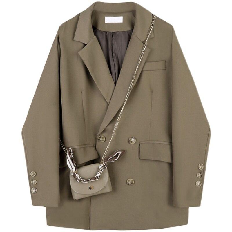 تصميم بليزرات النساء و السترات معطف المرأة 2021 إمرأة جديد فضفاض ريترو رداء غير رسمية طوق مزدوجة الصدر السترة الدعاوى
