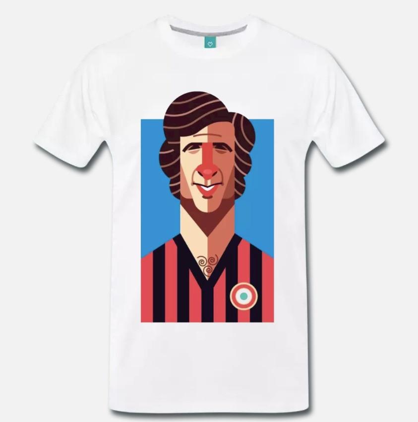 Camiseta MAGLIA MEME OMAGGIO A GIANNI RIVERA Milán BANDIERA CALCIO VINTAGE 1