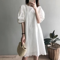 summer dress women 2020 a line o neck puff sleeve long knee length beach casual party cotton lace white dress frocks for lady