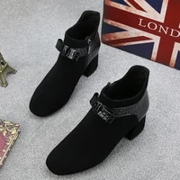 2021 autumn winter new high quality womens single shoes high heels bow british retro short boots