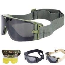 Gafas tácticas militares con 3 lentes, gafas protectoras balísticas Airsoft militares, a prueba de viento, para caza, Paintball, gafas militares