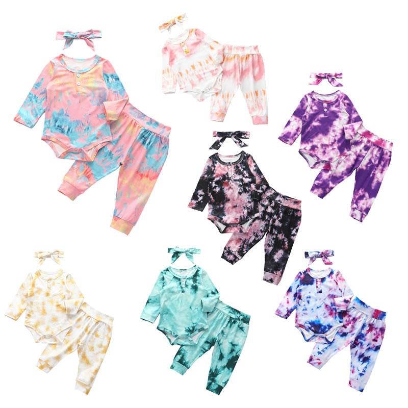 Queda Do Bebê Da Menina do Menino Tie Dye Conjunto Romper Natal Pano Criança Arco Cabeça + Macacão + Calça 3pc Outfit recém-nascidos de Licença de Maternidade Terno
